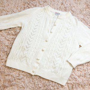 Vintage White Penrose Knit Cardigan Sweater